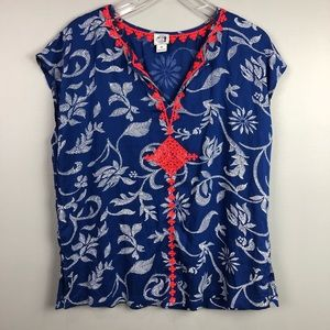Lucky Brand Irving Fine Silk Embroidered Blouse M